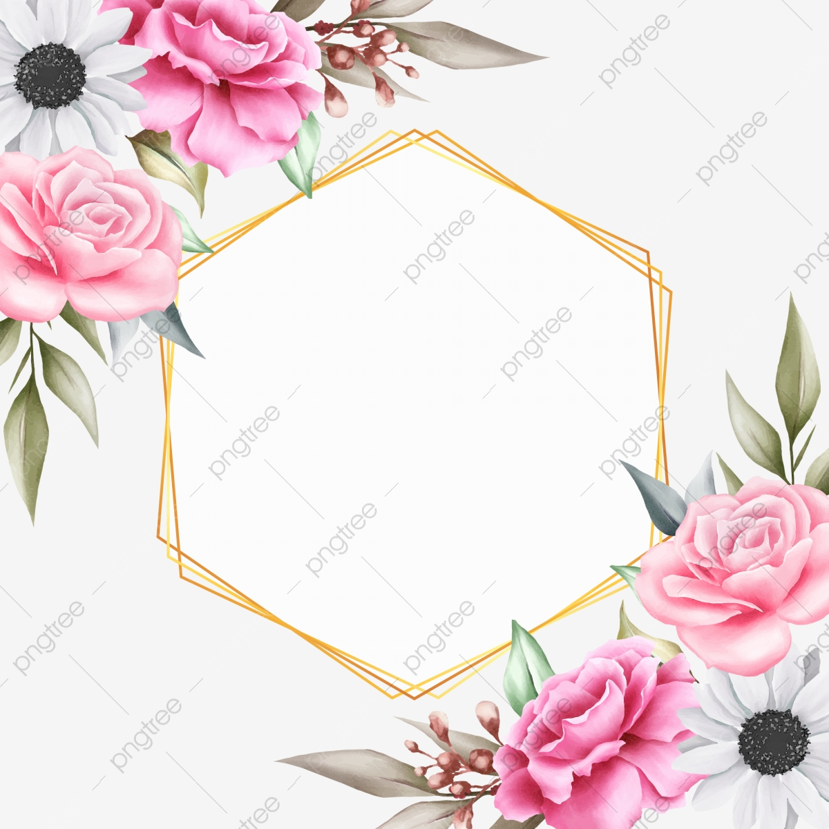 Beautiful Floral Background With Geometric For Invitation Cards 1200x1200