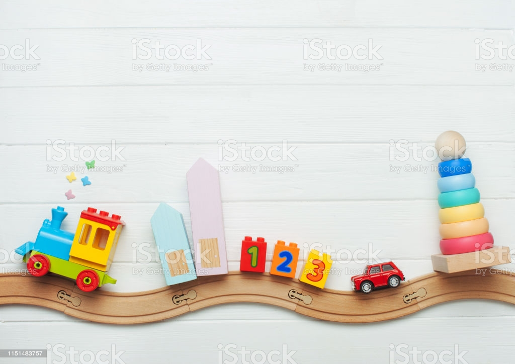 Kids Toys On Toy Wooden Railway On White Background Stock Photo 1024x724