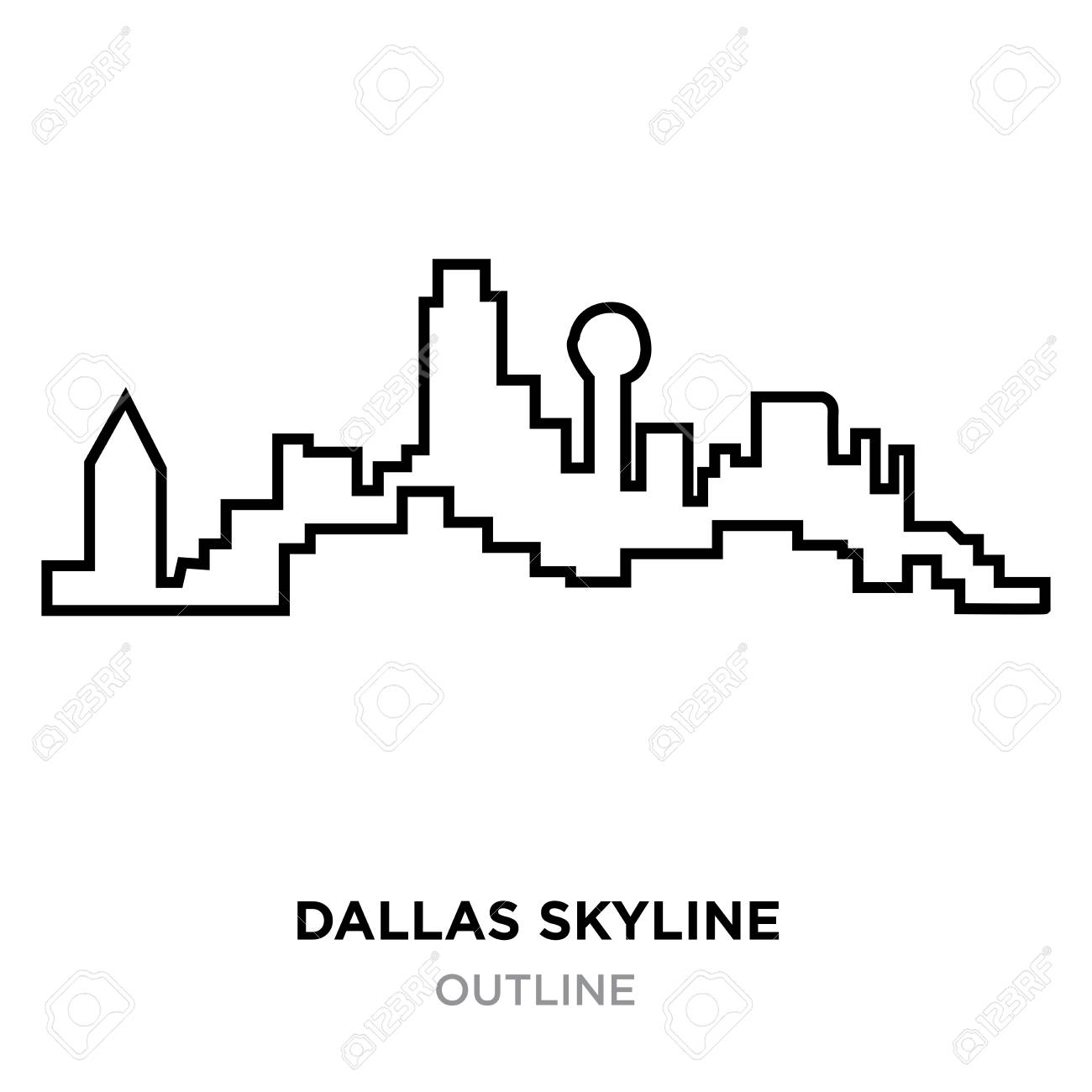 Dallas Skyline Outline On White Background Vector Illustration 1300x1300