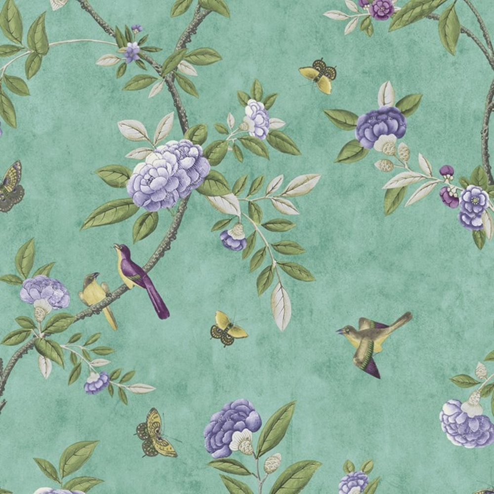 Graham & Brown Chinoiserie Bird Butterfly Floral Leaf Wallpaper 50-762