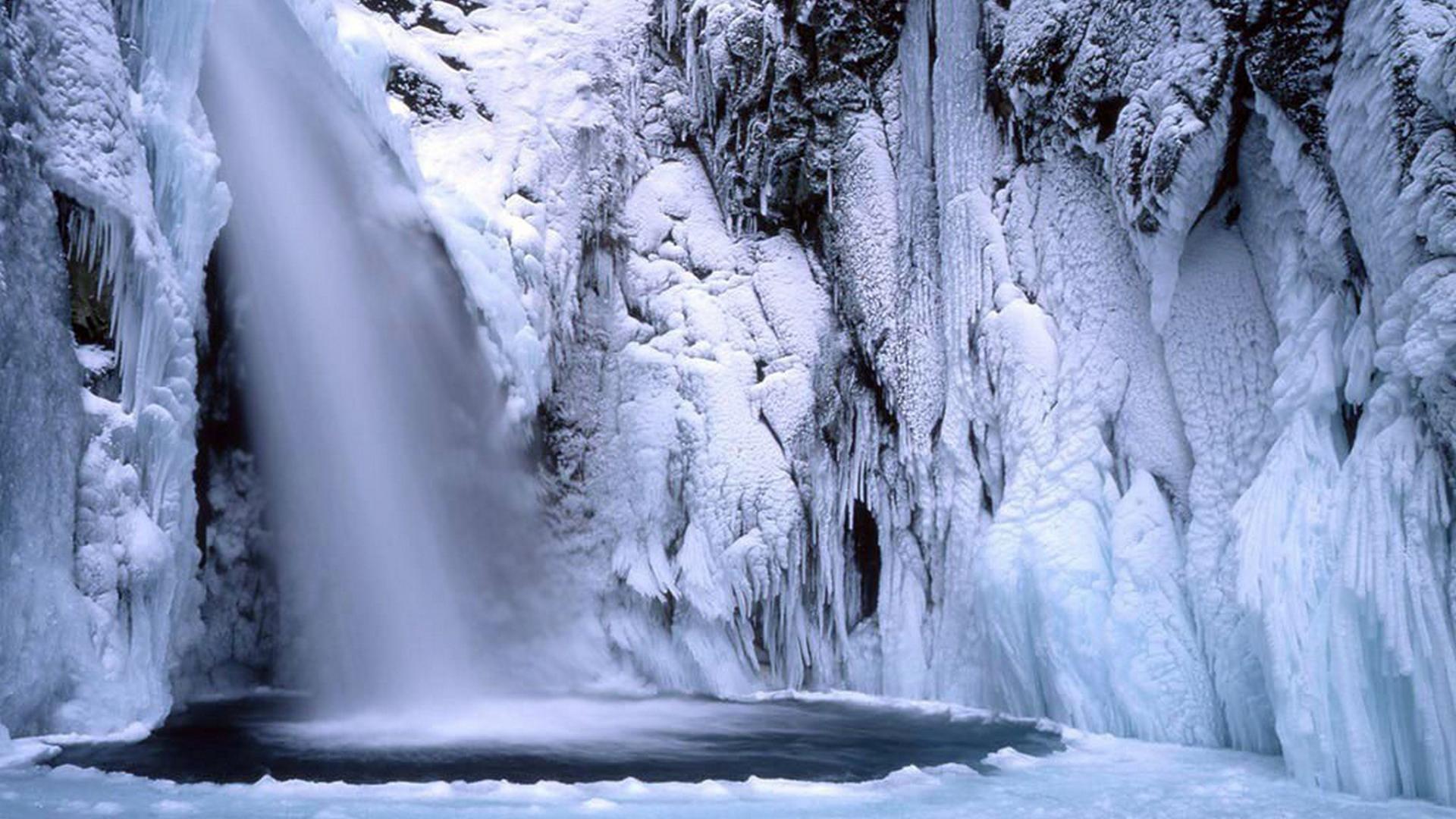 Winter Waterfall Desktop Wallpaper WallpaperSafari