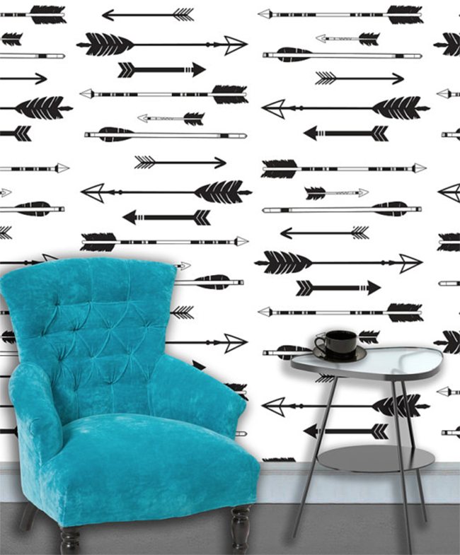 Black and white arrows peel and stick wallpaper 650x785