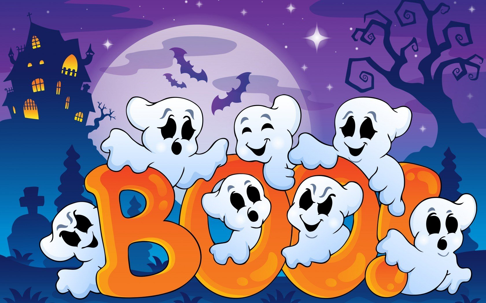 Cute Halloween Ghost Wallpaper The Art Mad Wallpapers 1680x1050