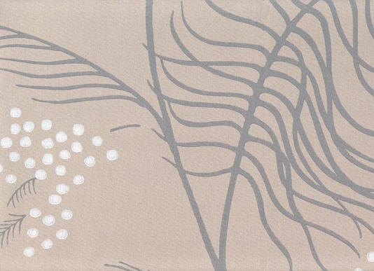 Mimosa Wallpaper Wallpaper in beige with leaves in grey and white 534x387