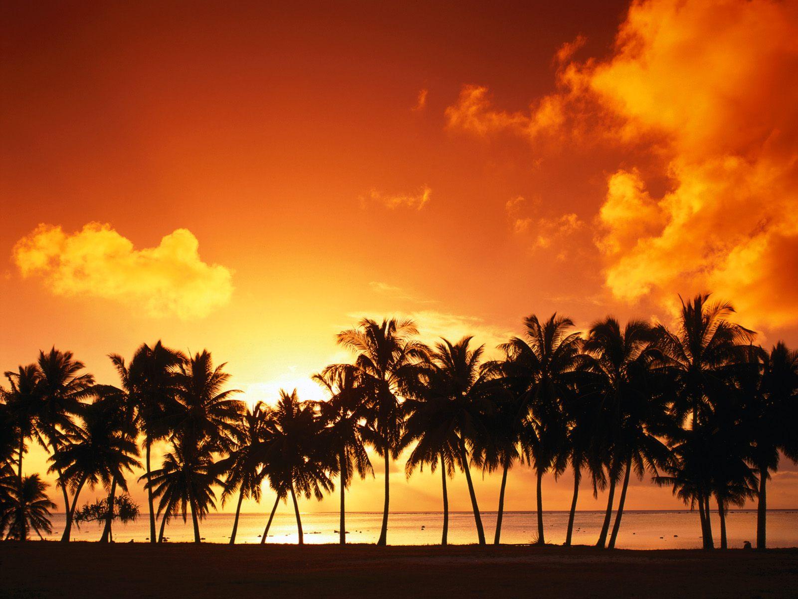 Aitutaki Island at Sunset Cook Islands Wallpapers HD Wallpapers 1600x1200