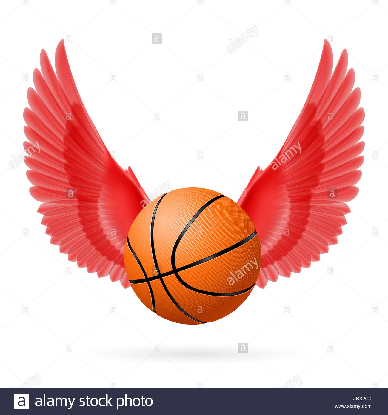Red wings with basketball on the white background Stock Photo 1300x1390