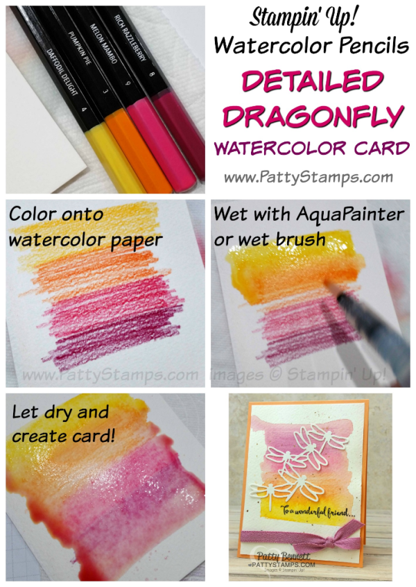 Watercolor pencil background tutorial for the Detailed Dragonfly 600x846