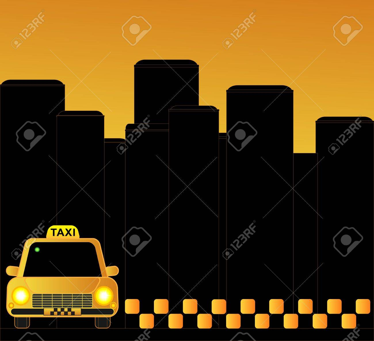 Urban Taxi Background With Many Skyscrapers Royalty Cliparts 1300x1187