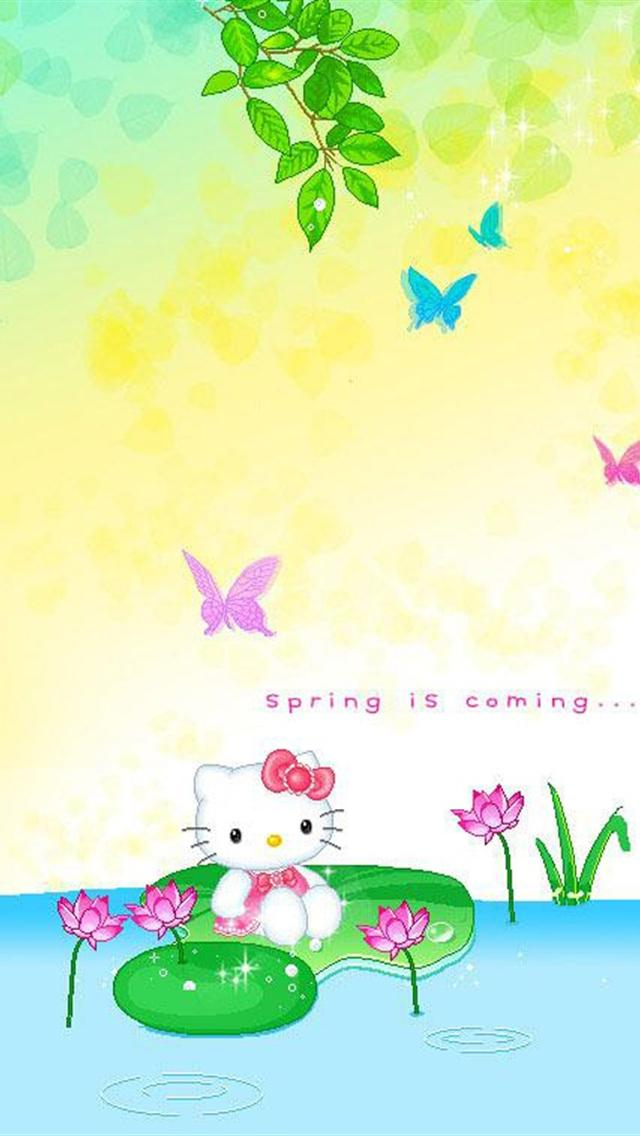 kitty spring is coming backgrounds for iphone 5