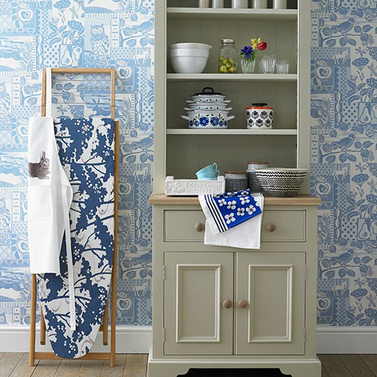 Kitchen with pale blue patterned wallpaper Decorating housetohome 550x550