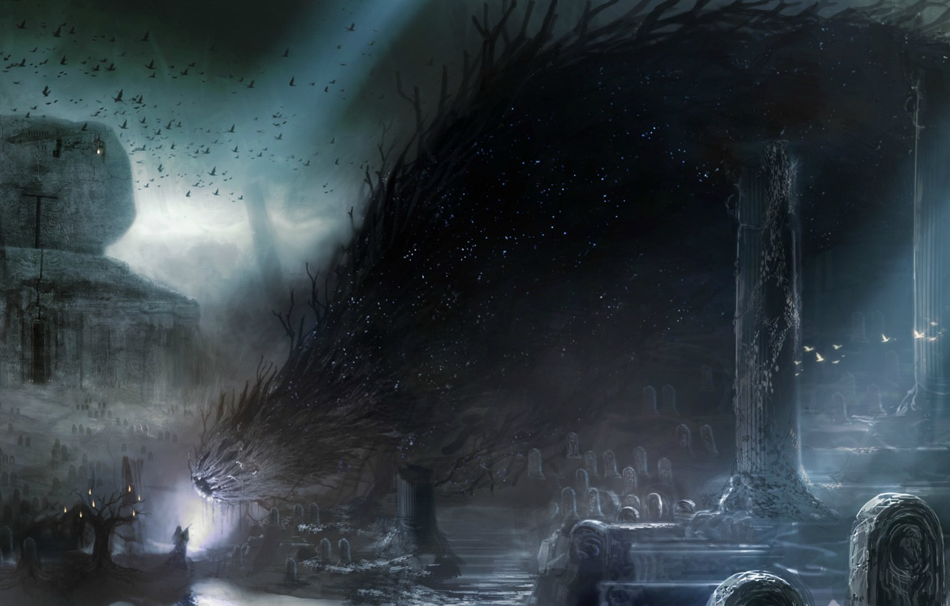 Wallpaper night the demon destruction crows witch monster 1332x850