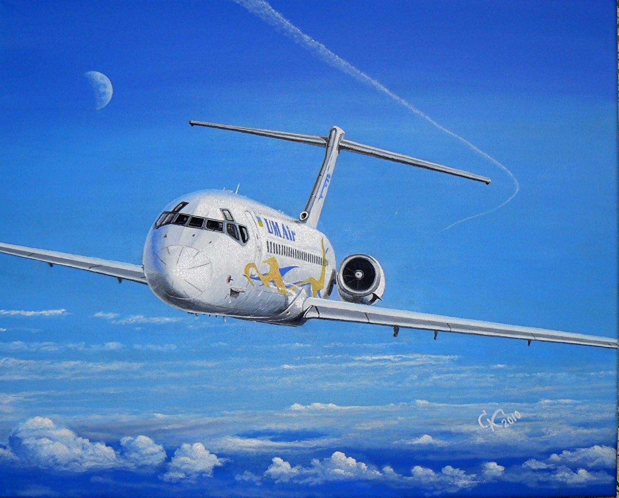Pictures Airplane Passenger Airplanes DC 9 Painting Art Aviation 1272x1024