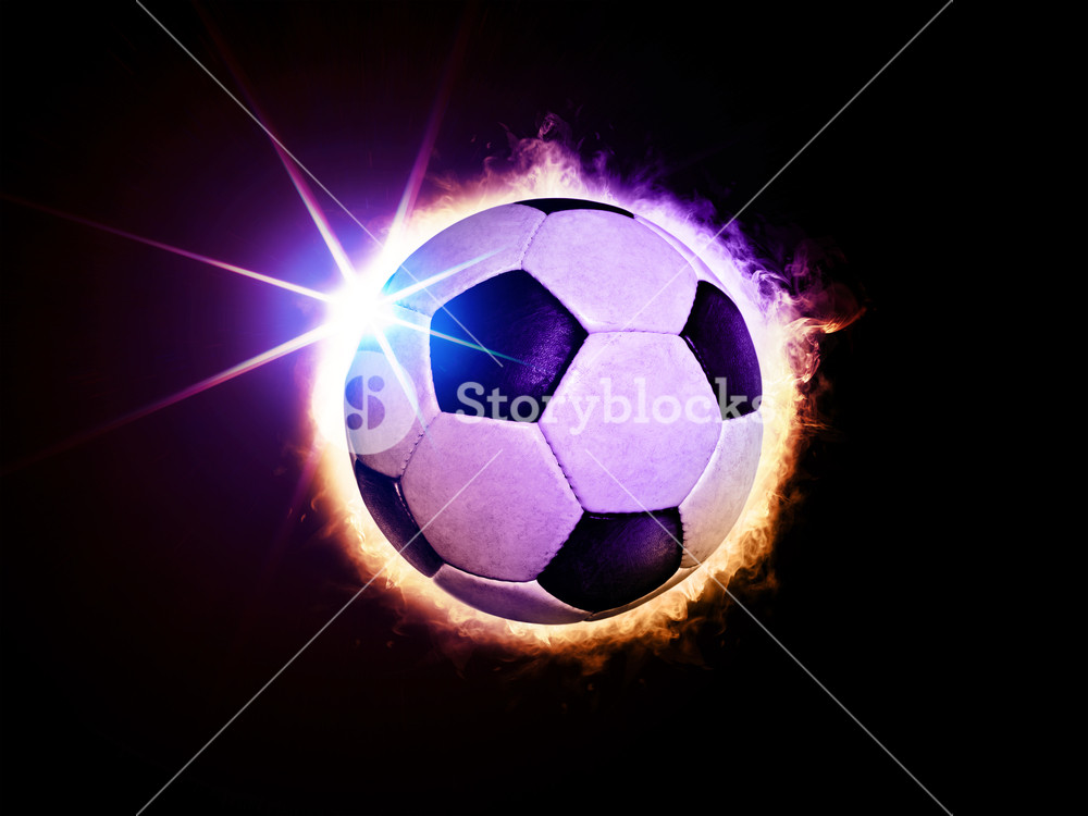 illustration of fiery soccer ball like solar eclipse on black 1000x750
