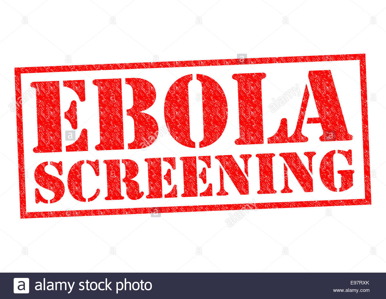 EBOLA SCREENING red Rubber Stamp over a white background Stock 1300x1008