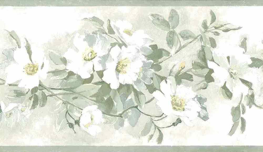 Magnolia Like Floral Wallpaper Border Green Blue White York Y0840B 1000x579
