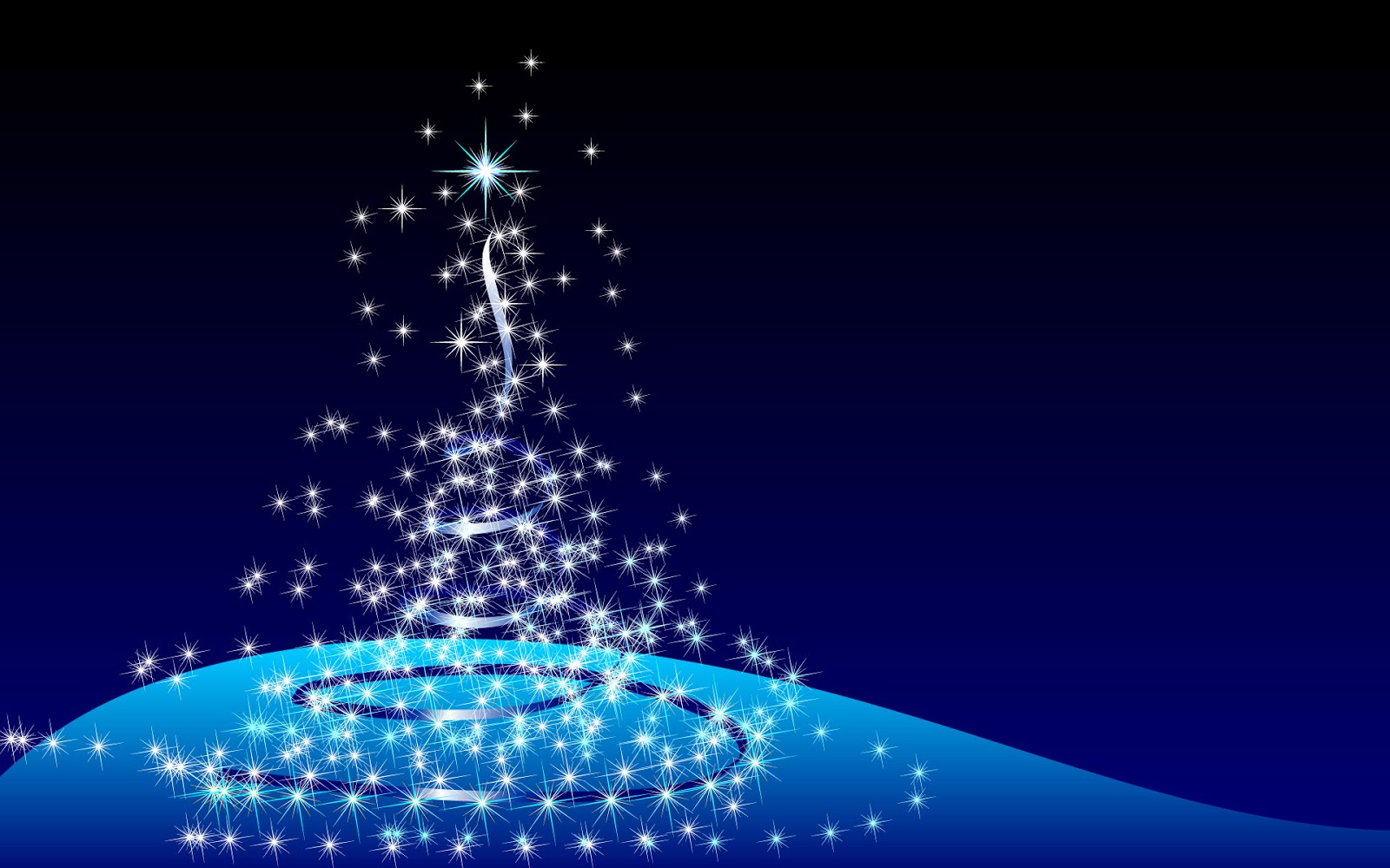 Lovely 3D Animation Christmas Tree in Blue Background 1600x1000
