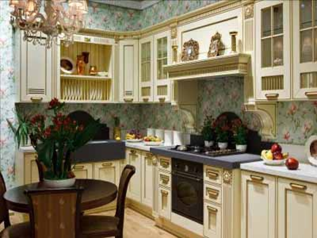 Free Download Flower Wallpaper Modern Kitchens Wood Kitchen