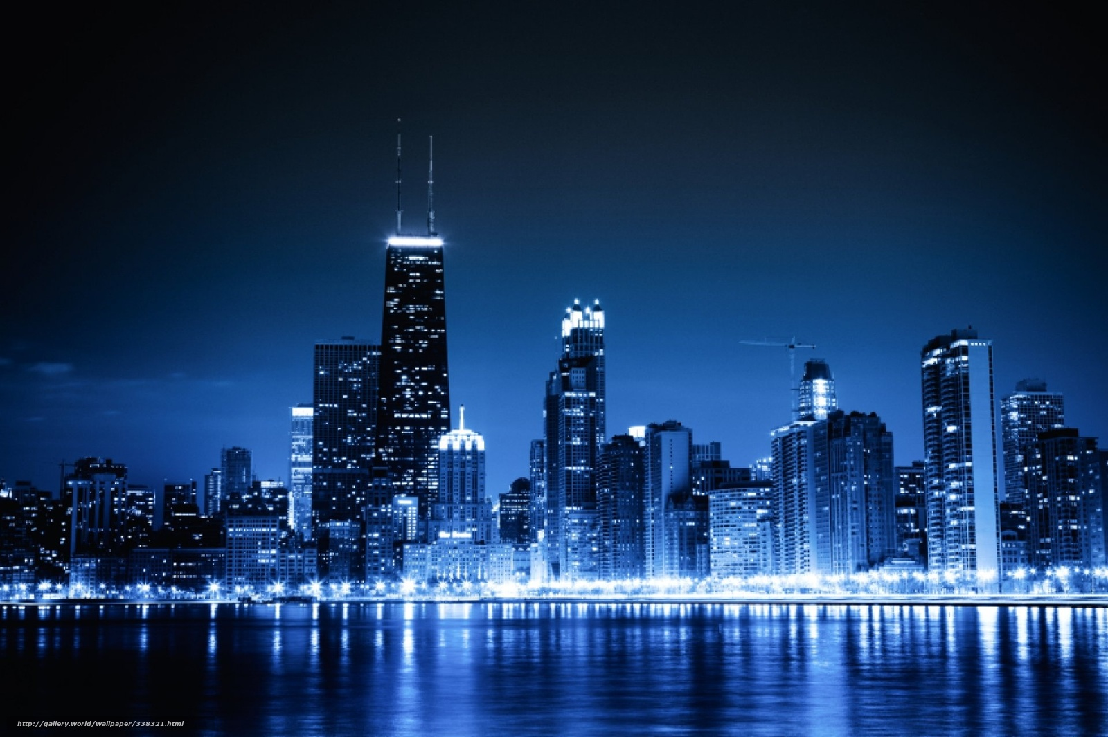 wallpaper Chicago blue night city lights desktop wallpaper 1600x1065