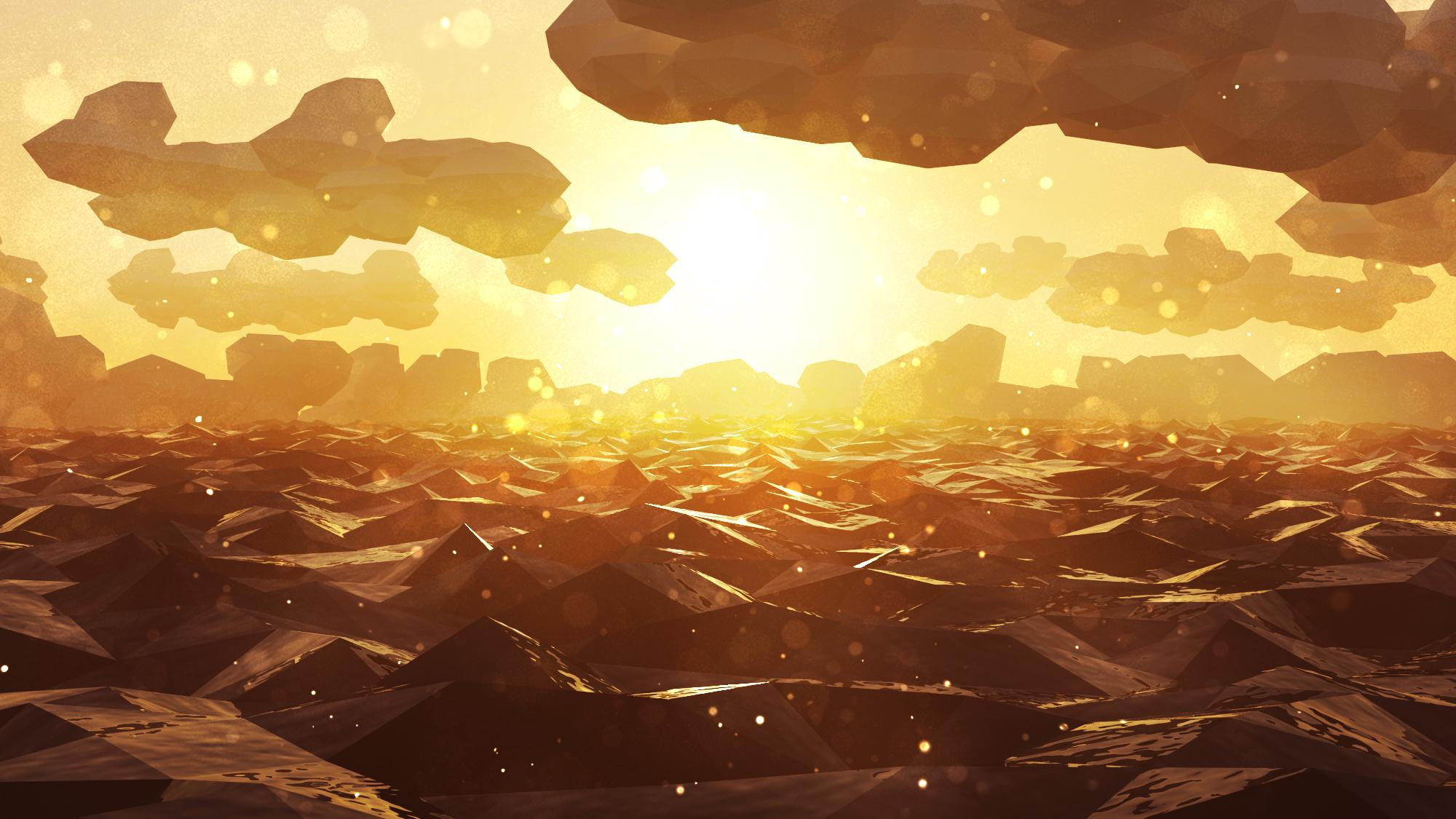 Low Poly Sunset wallpaper low polygon art 3D graphics landscape sea 2000x1125