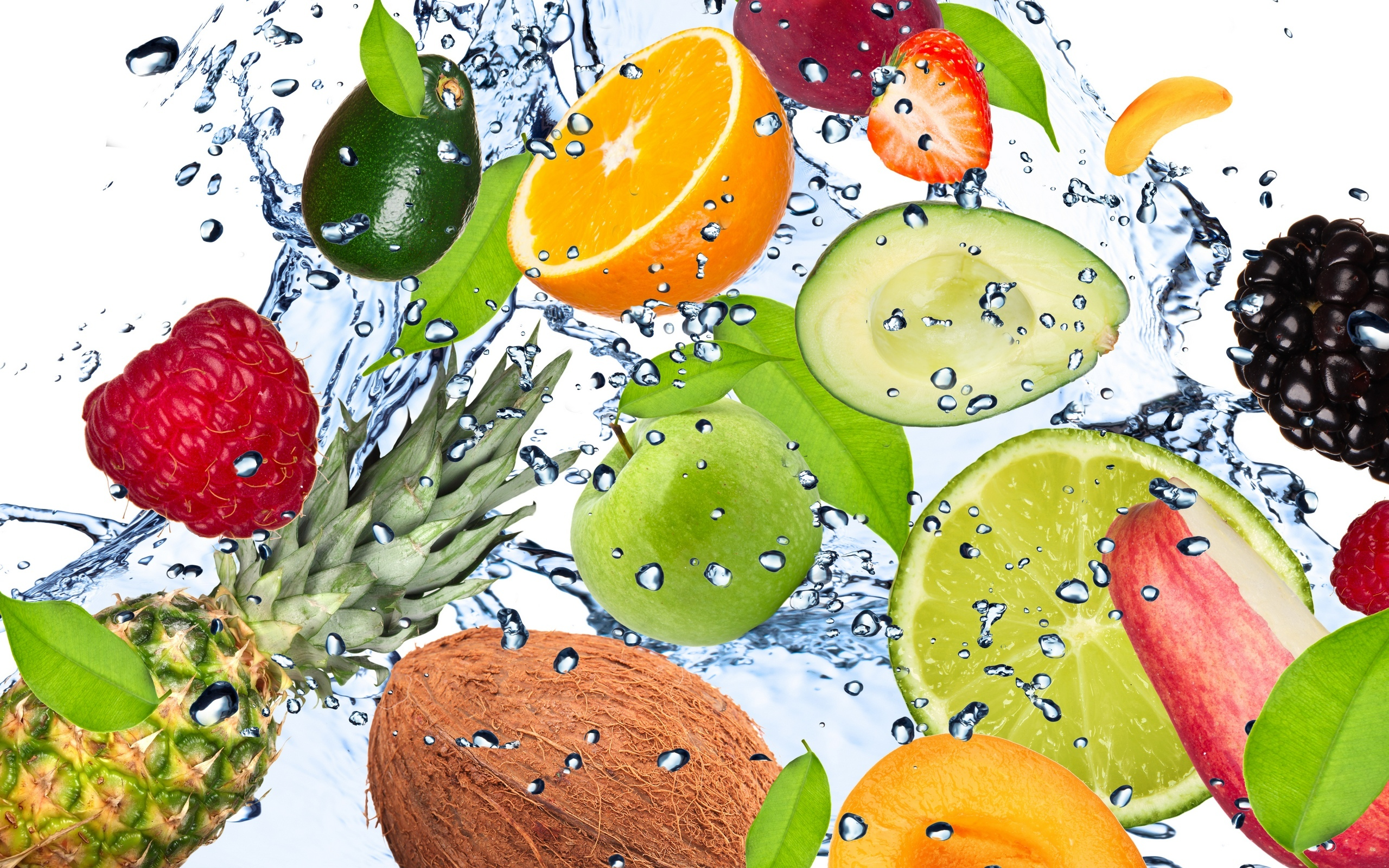 fresh fruits coonut orange apple water banana berries digital 2560x1600