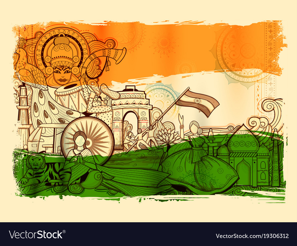 India background showing its incredible culture Vector Image 1000x829