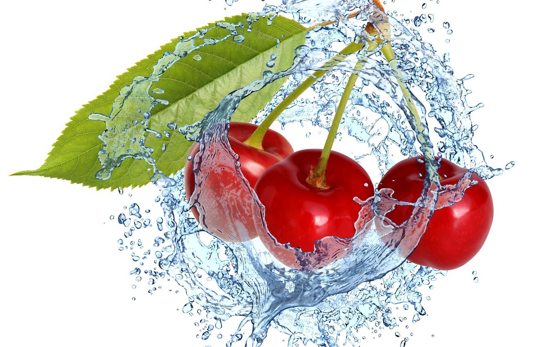 Wallpaper water squirt cherry berries fresh cherry water 1332x850