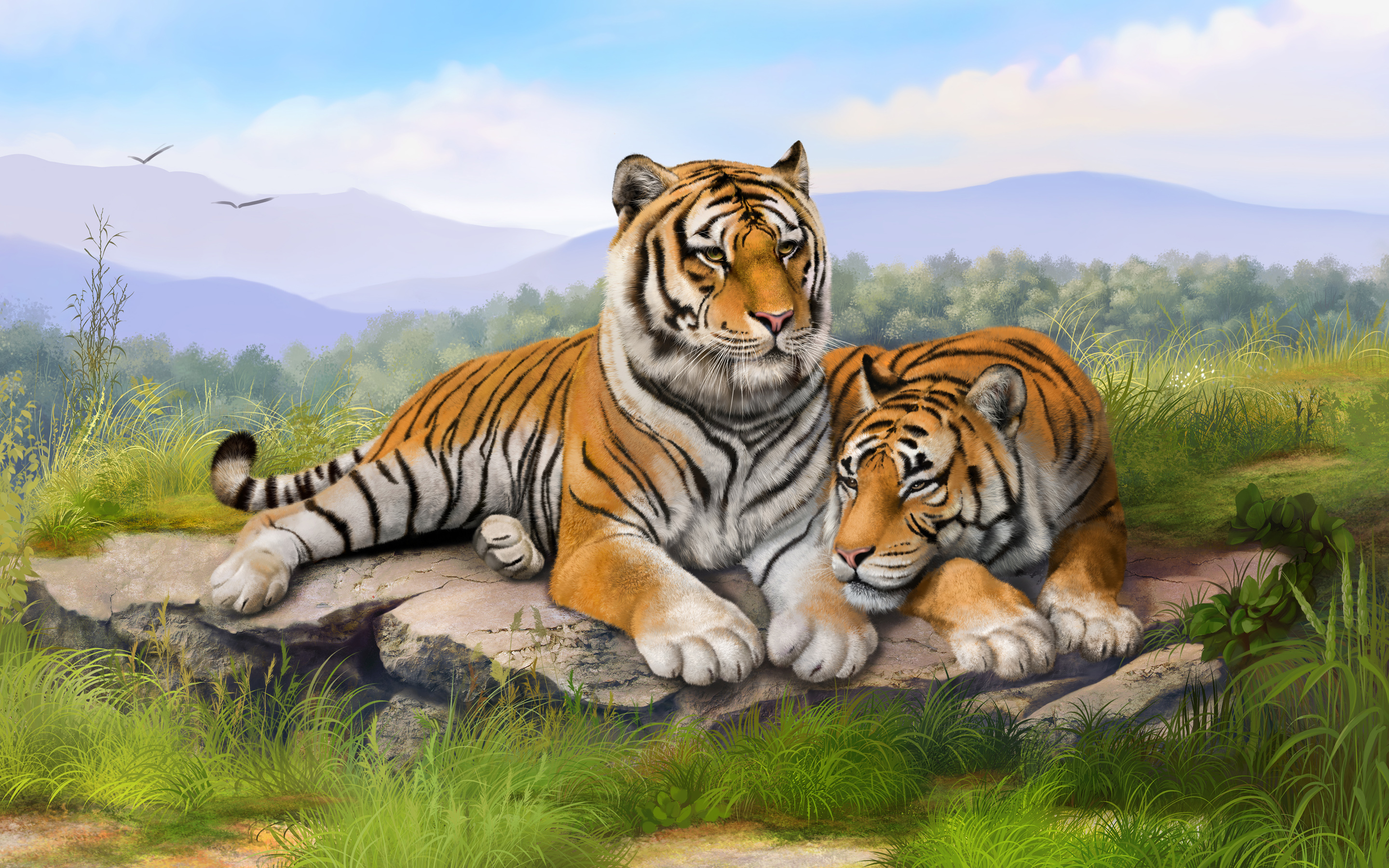 Tigers Art Wallpapers HD Wallpapers 2880x1800