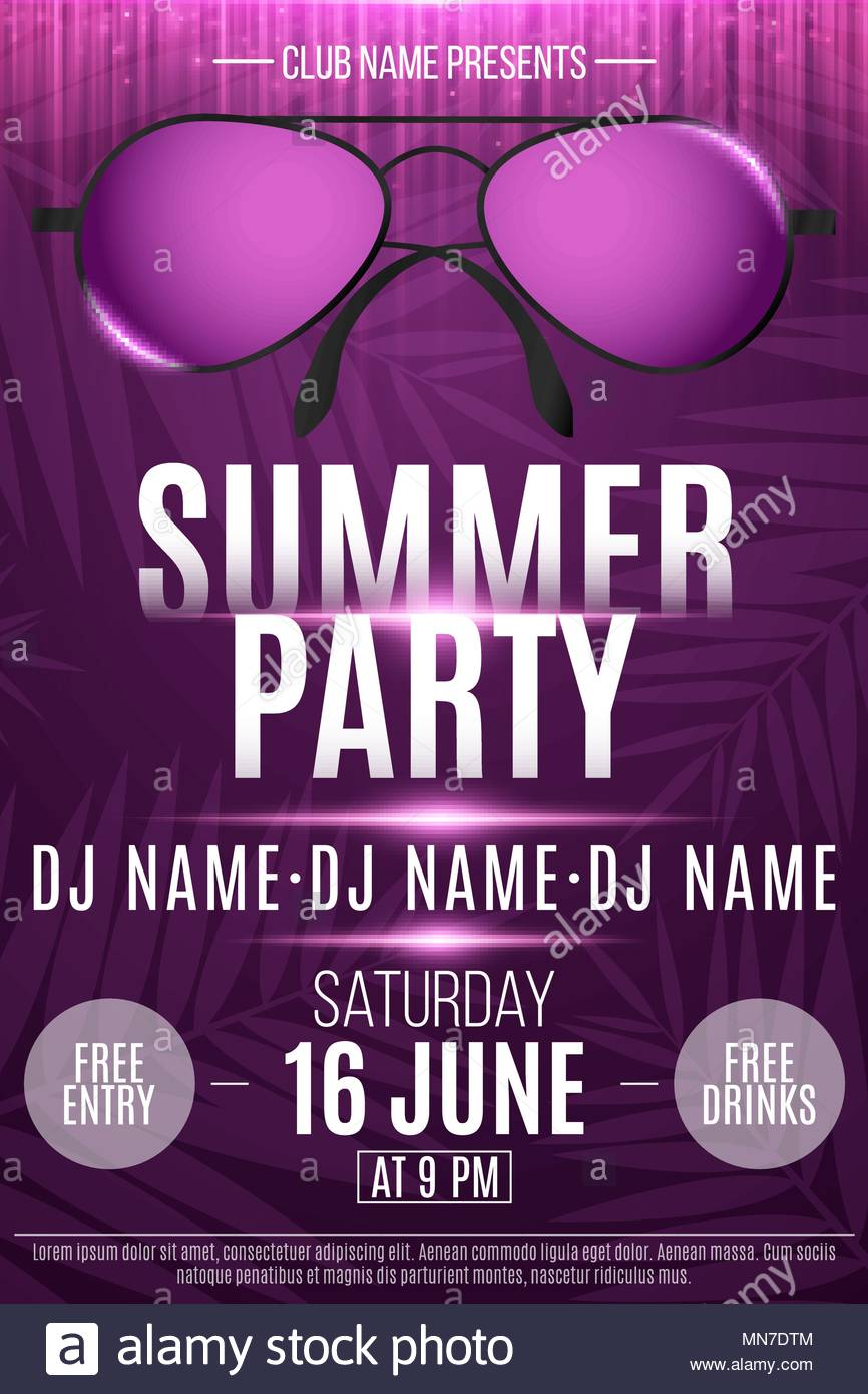 Flyer for a Summer Party Beach sunglasses with neon glow Purple 866x1390