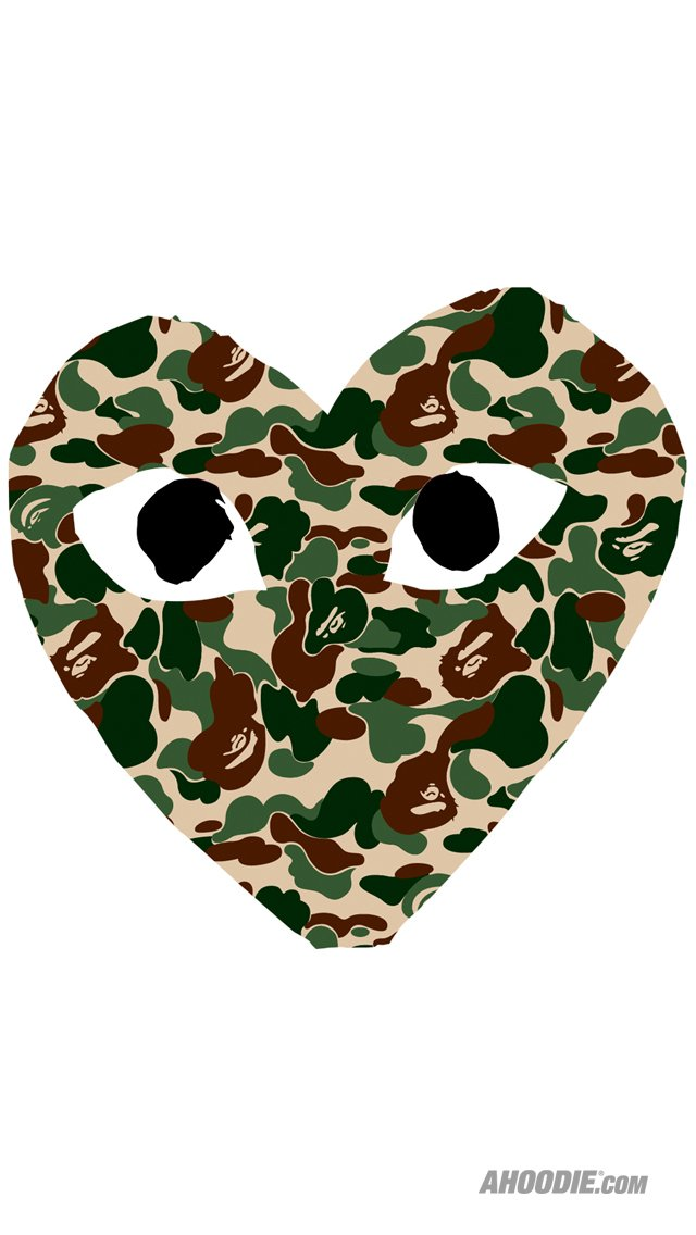 Bape Ahoodie Iphone Wallpaper Reg Camo COMME DES GARCONS X BAPE 640x1136