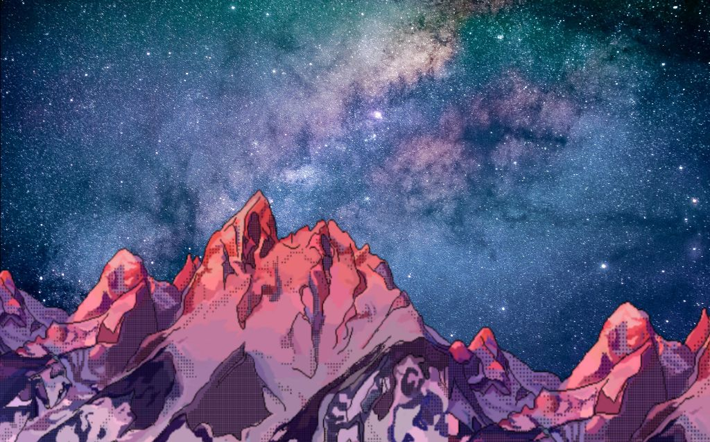 galaxy background mountains 80s wallpaper aesthetic 1024x637