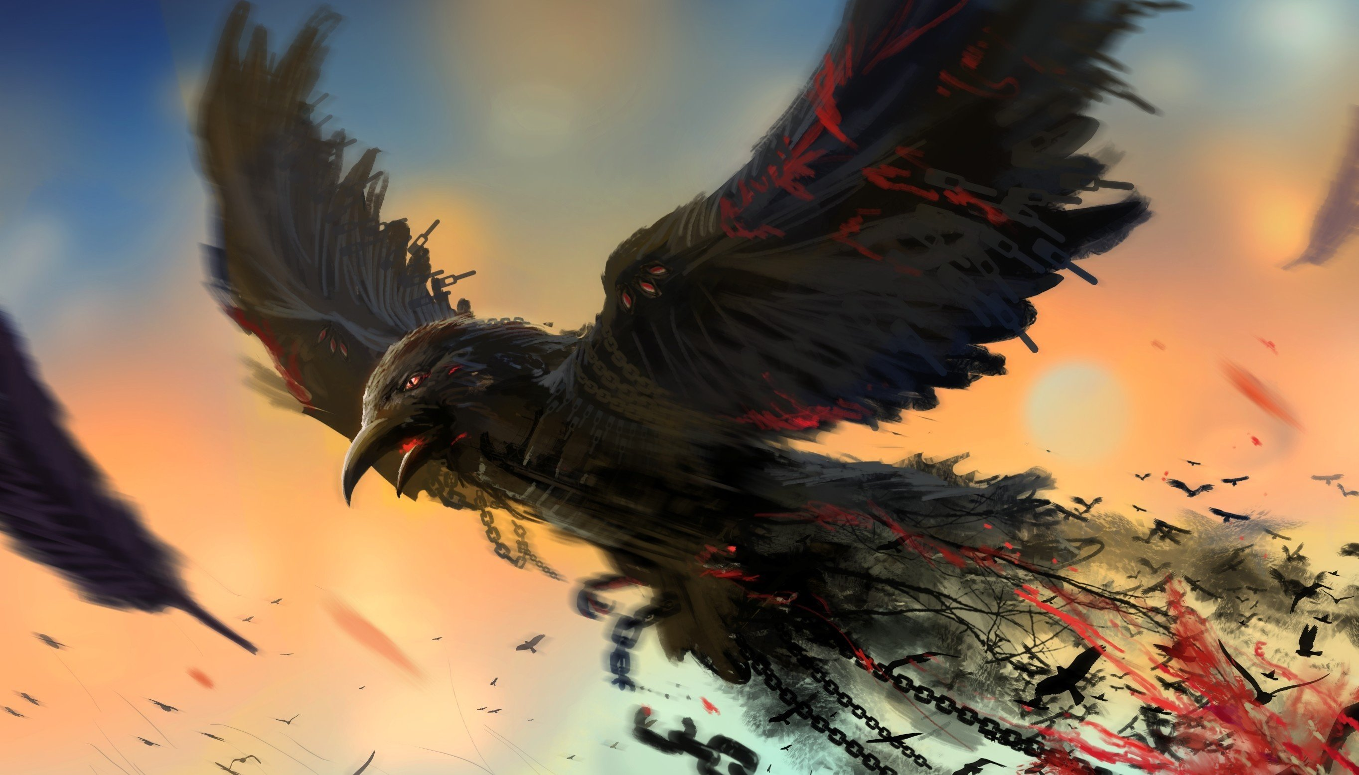 Bird chain art raven dark blood wallpaper 2727x1556 281544 2727x1556