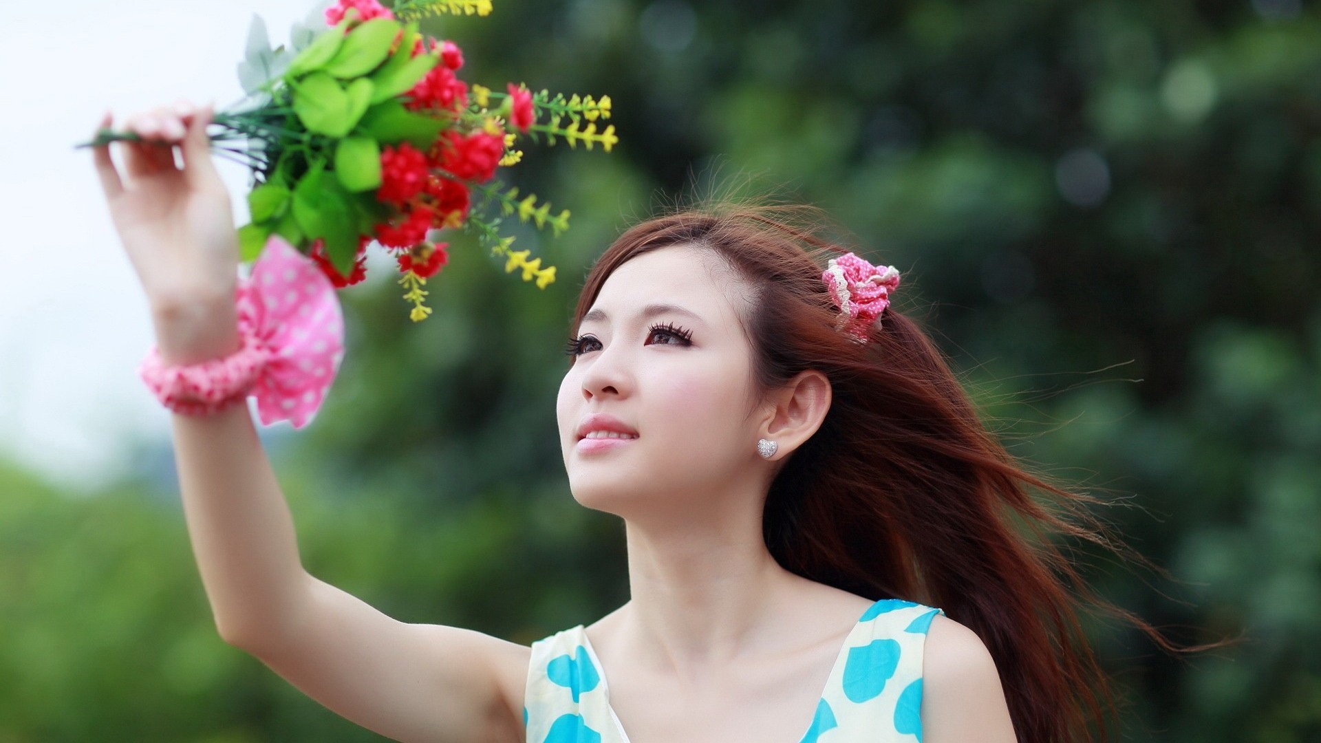Wallpaper women model red Asian dress hair spring Person 1920x1080