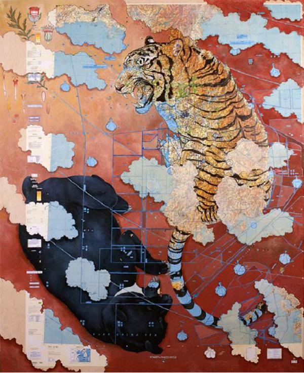 Beautiful Paintings Using Maps As Background favbulous 600x737