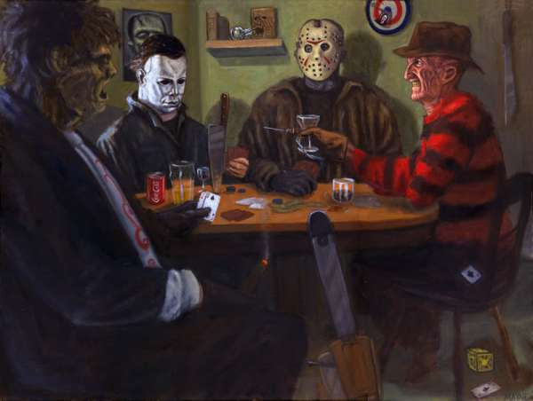 Leatherface Michael Myers Jason Voorhees and Freddy Krueger playing 600x452