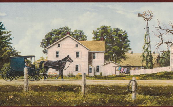 Amish Buggy and Farm Scene Wallpaper Border eBay 600x373