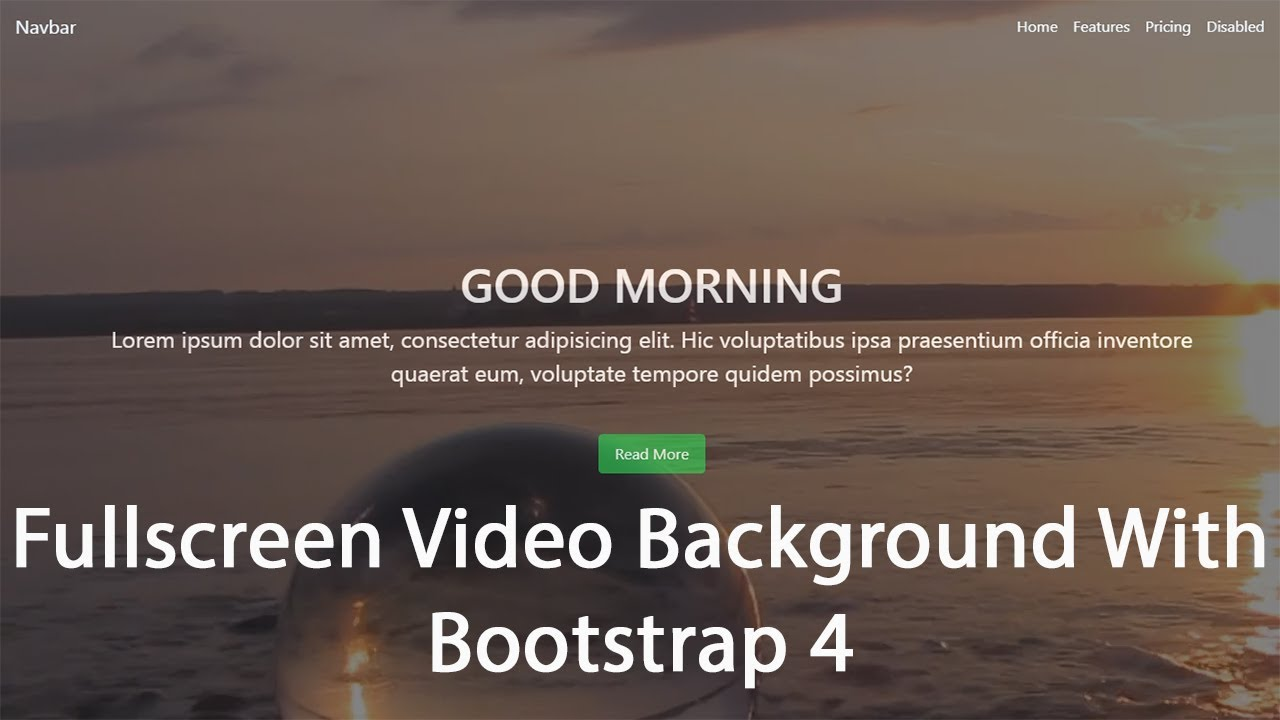 Fullscreen Video Background With HTML CSS and BOOTSTRAP 4 1280x720