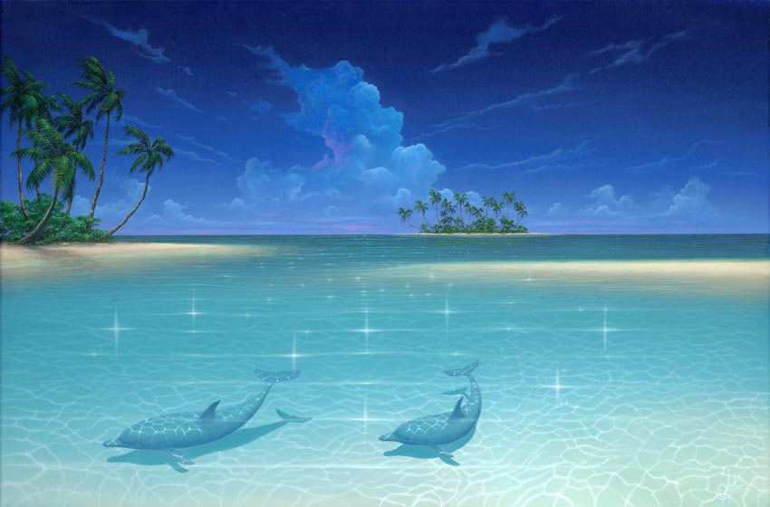 Dolphin Cove a tropical beach seascape painting by artist David Miller 850x560