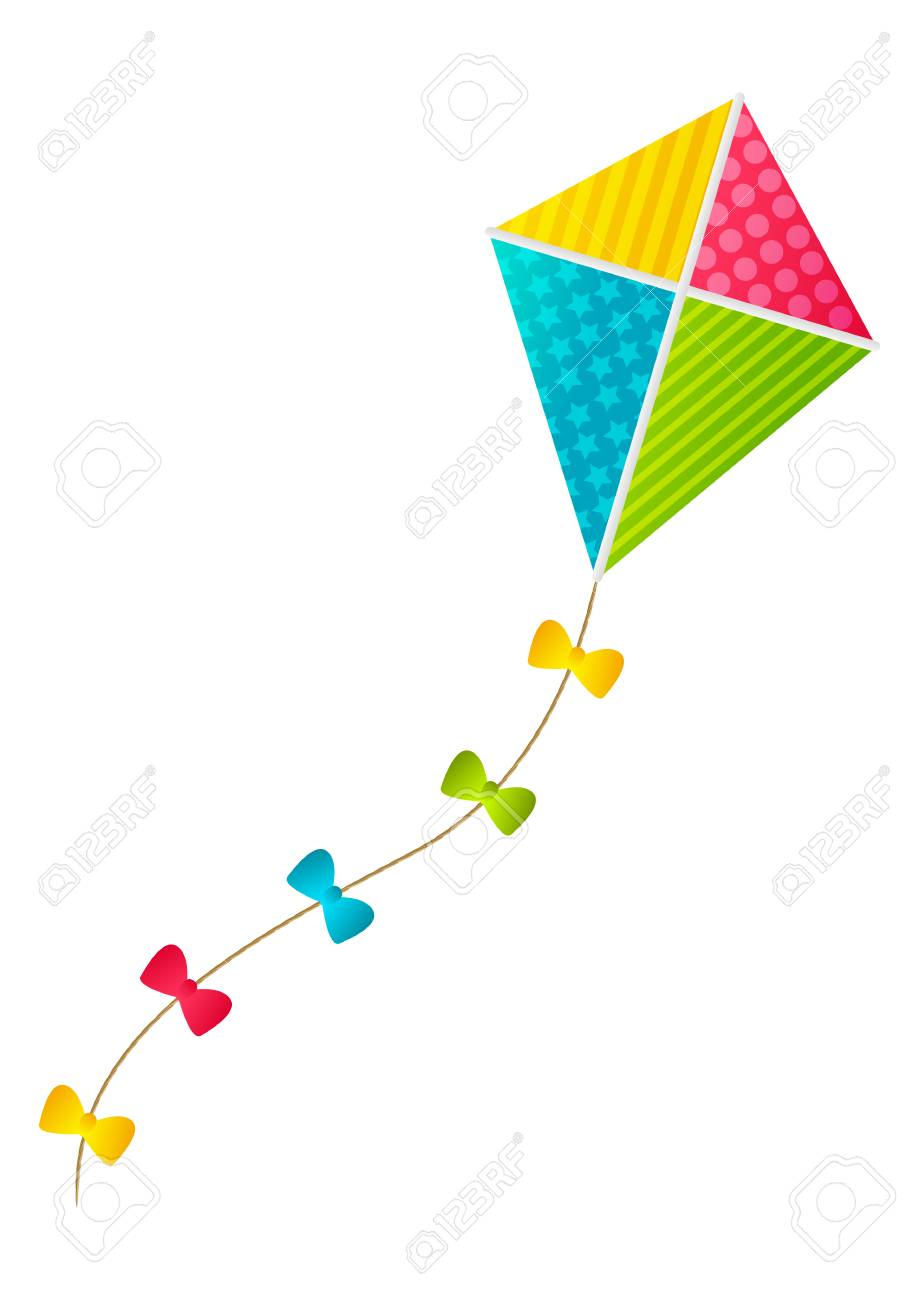 Color Paper Kite On White Background Royalty Cliparts 919x1300