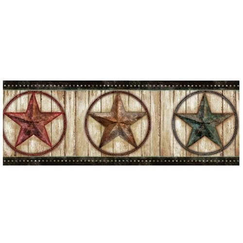 Theo Weathered Barn Star 15 x 75 3D Embossed Border Wallpaper 500x500