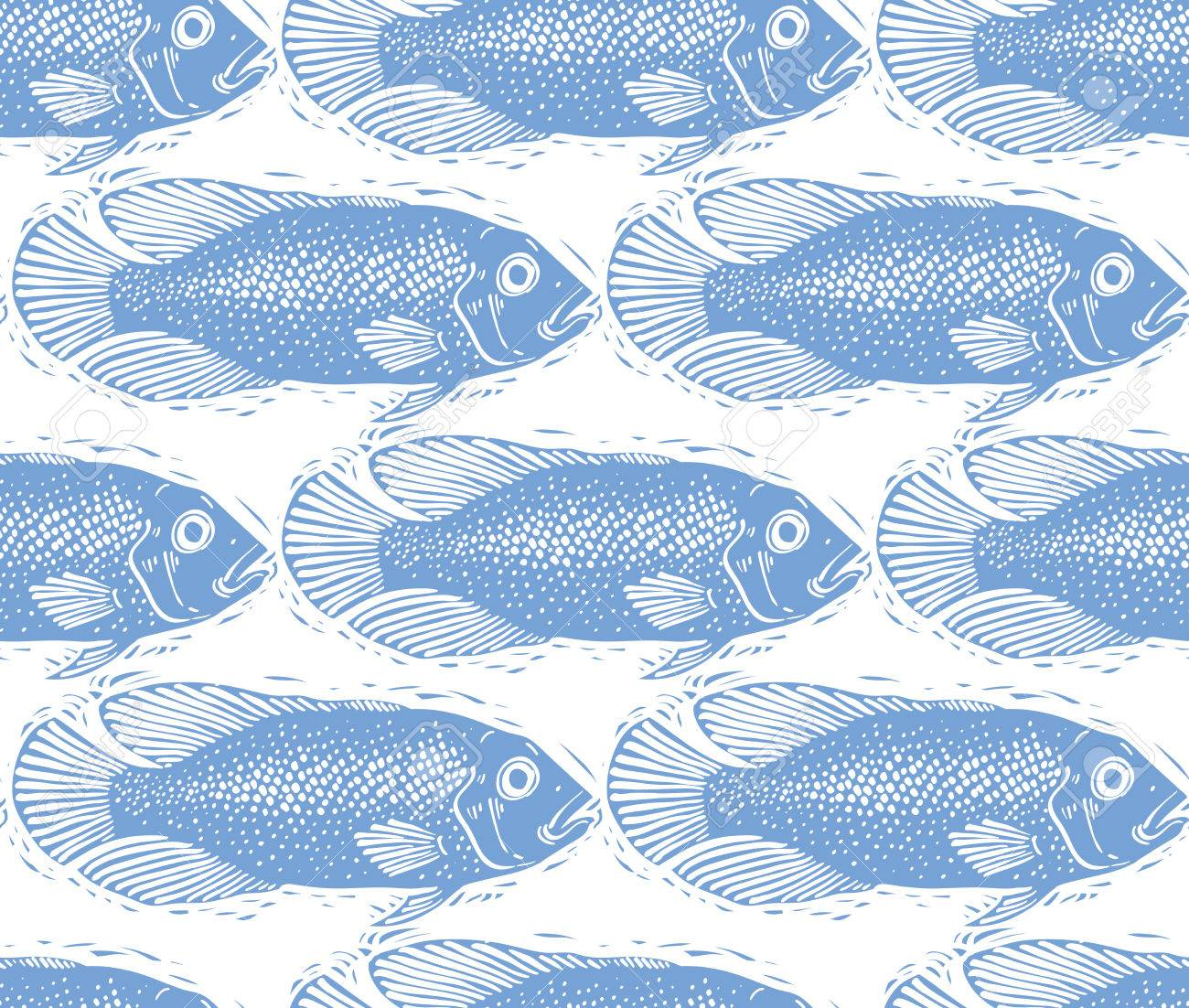 Vector Freshwater Fish Endless Pattern Nature And Marine Theme 1300x1102