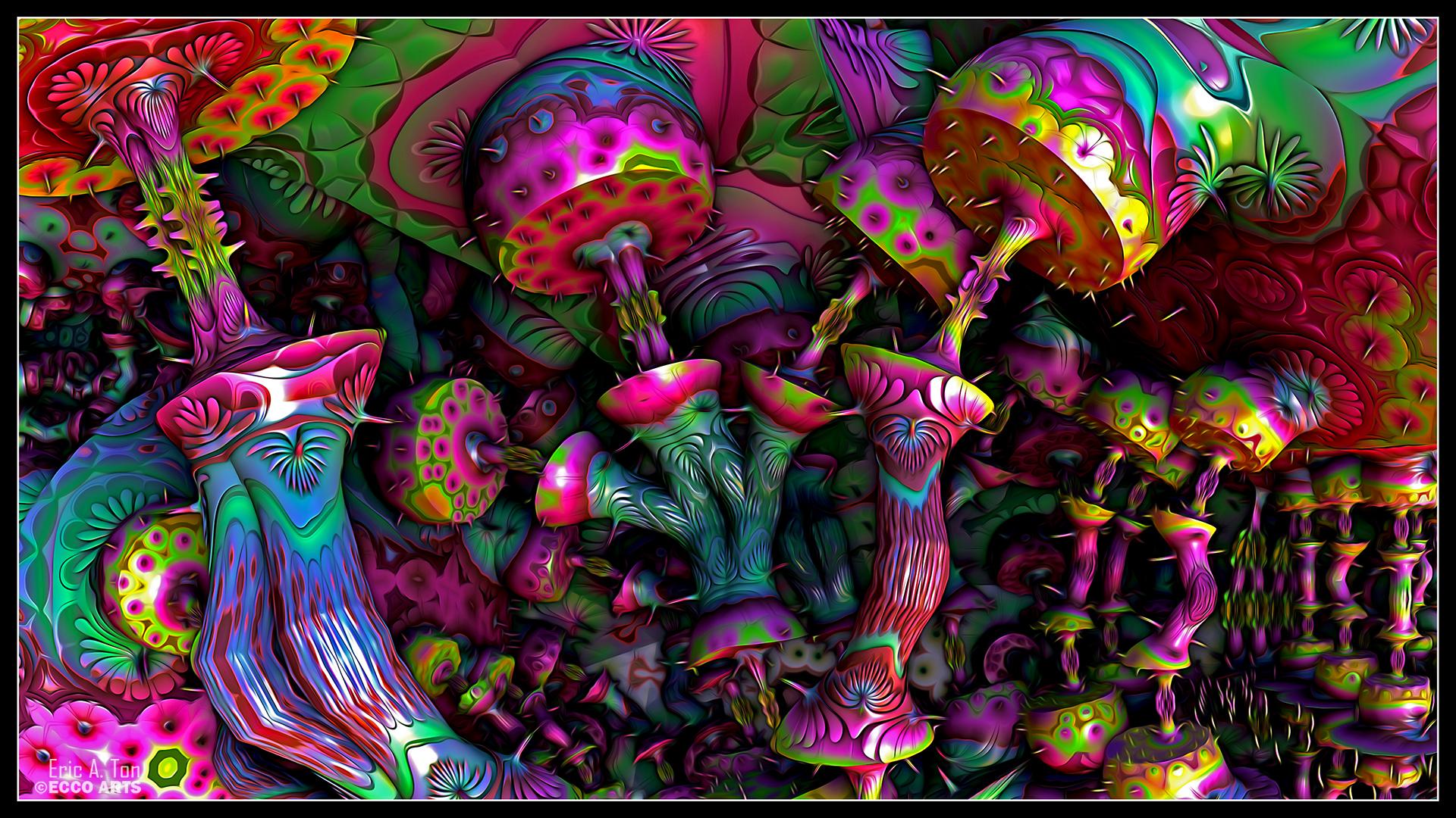 Psychedelic Mushrooms by eccoarts 1920x1080