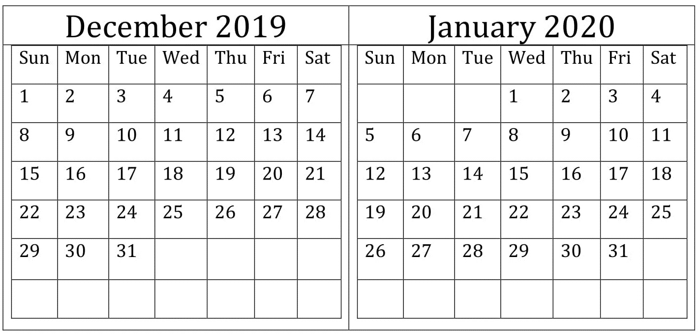 December January 2020 Calendar Excel Word Printable   Latest 1421x685