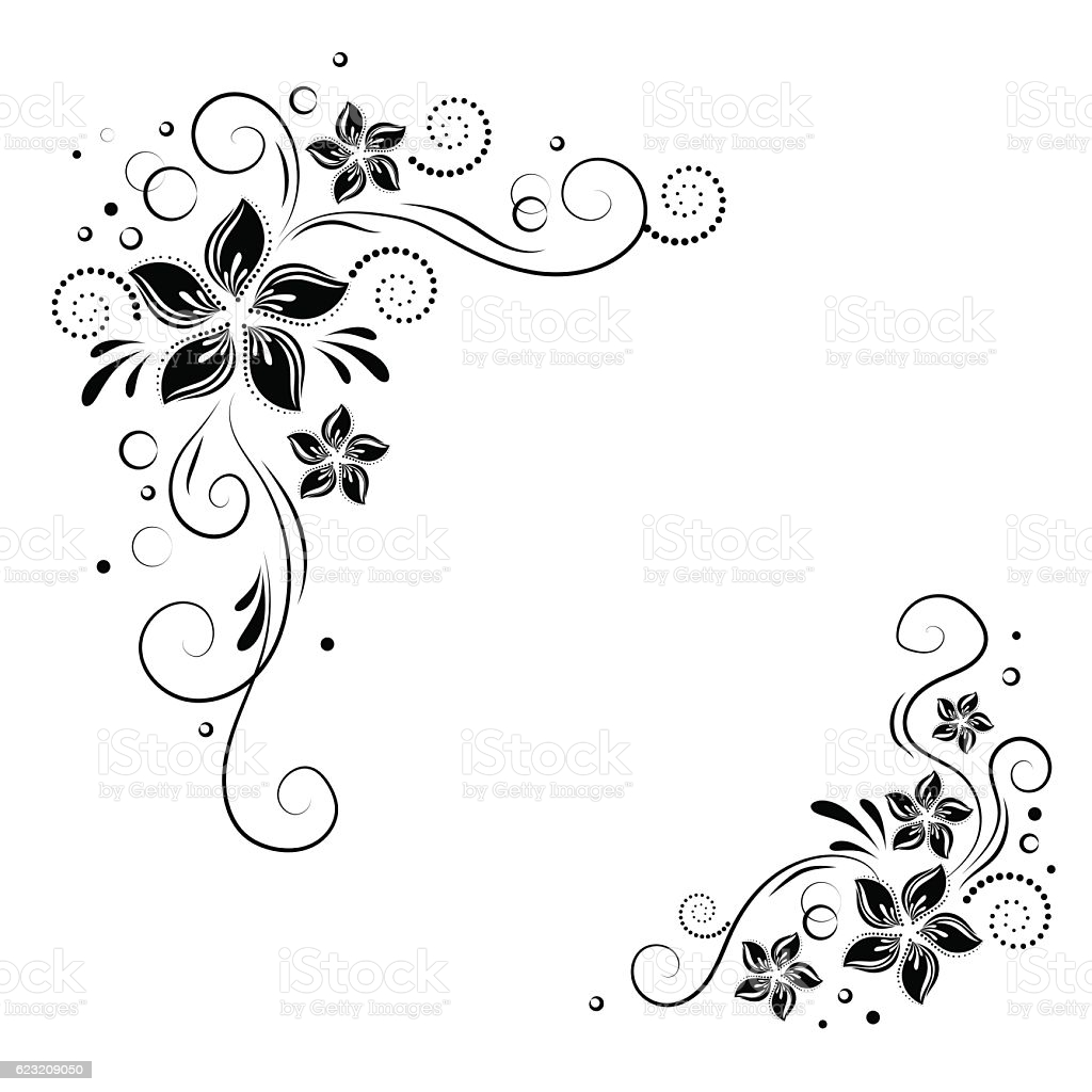 Floral Corner Design Ornament Black Flowers On White Background 1024x1024