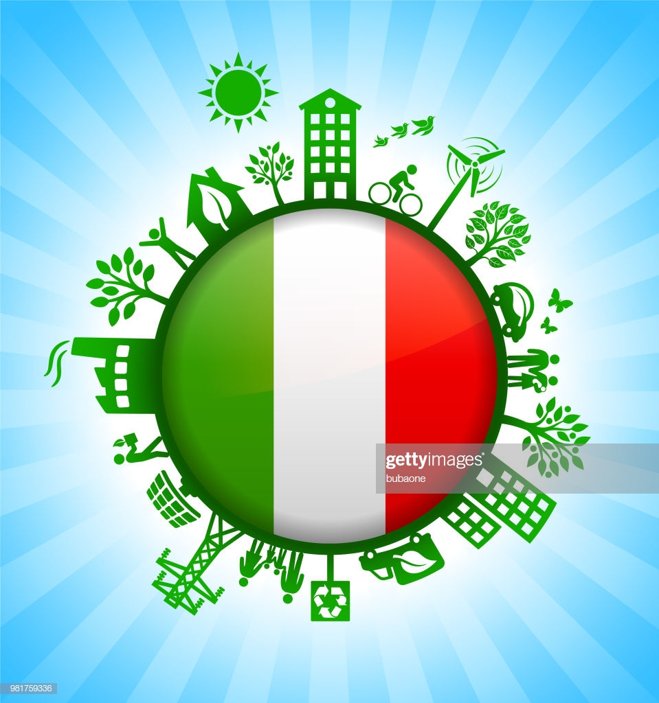 Italian Flag On Green Environmental Conservation Background High 959x1024