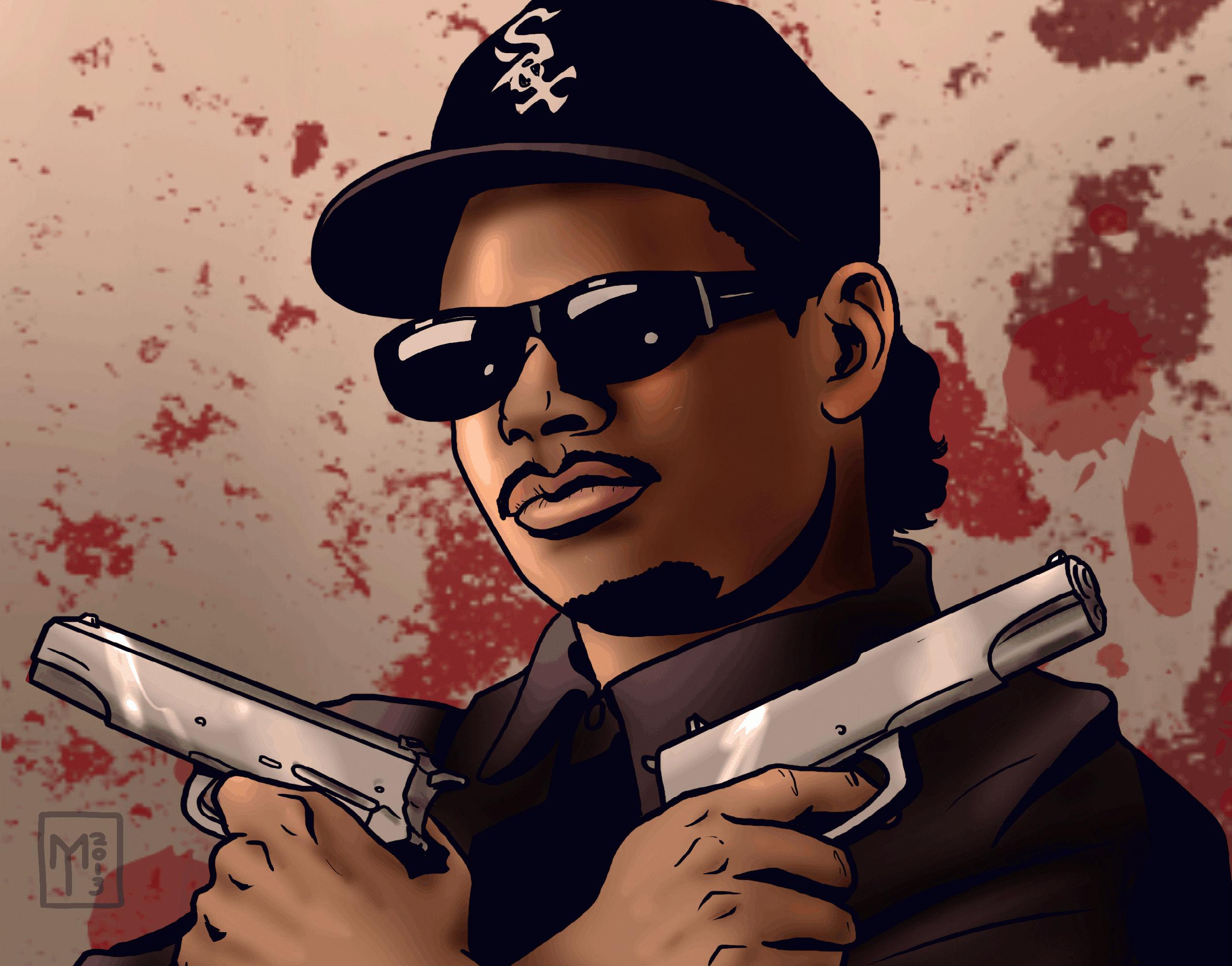 Eazy E Cartoon: NWA IPhone Wallpaper