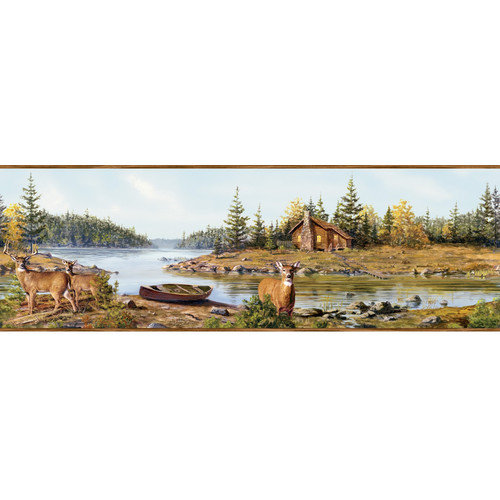 Home Fashions Outdoors Cabin Creek Portrait Wildlife Border Wallpaper 500x500