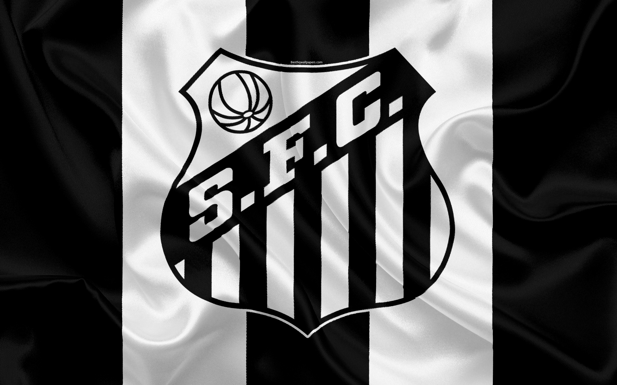 Download wallpapers Santos FC Brazilian football club emblem 2560x1600