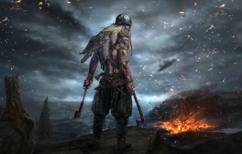 Wallpaper axe fire flame blood weapon man blade warrior 1332x850