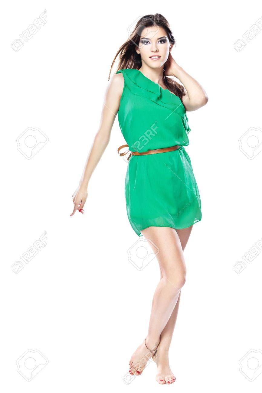 Woman In Green Dress Barefoot Isolated On White Background Stock 866x1300