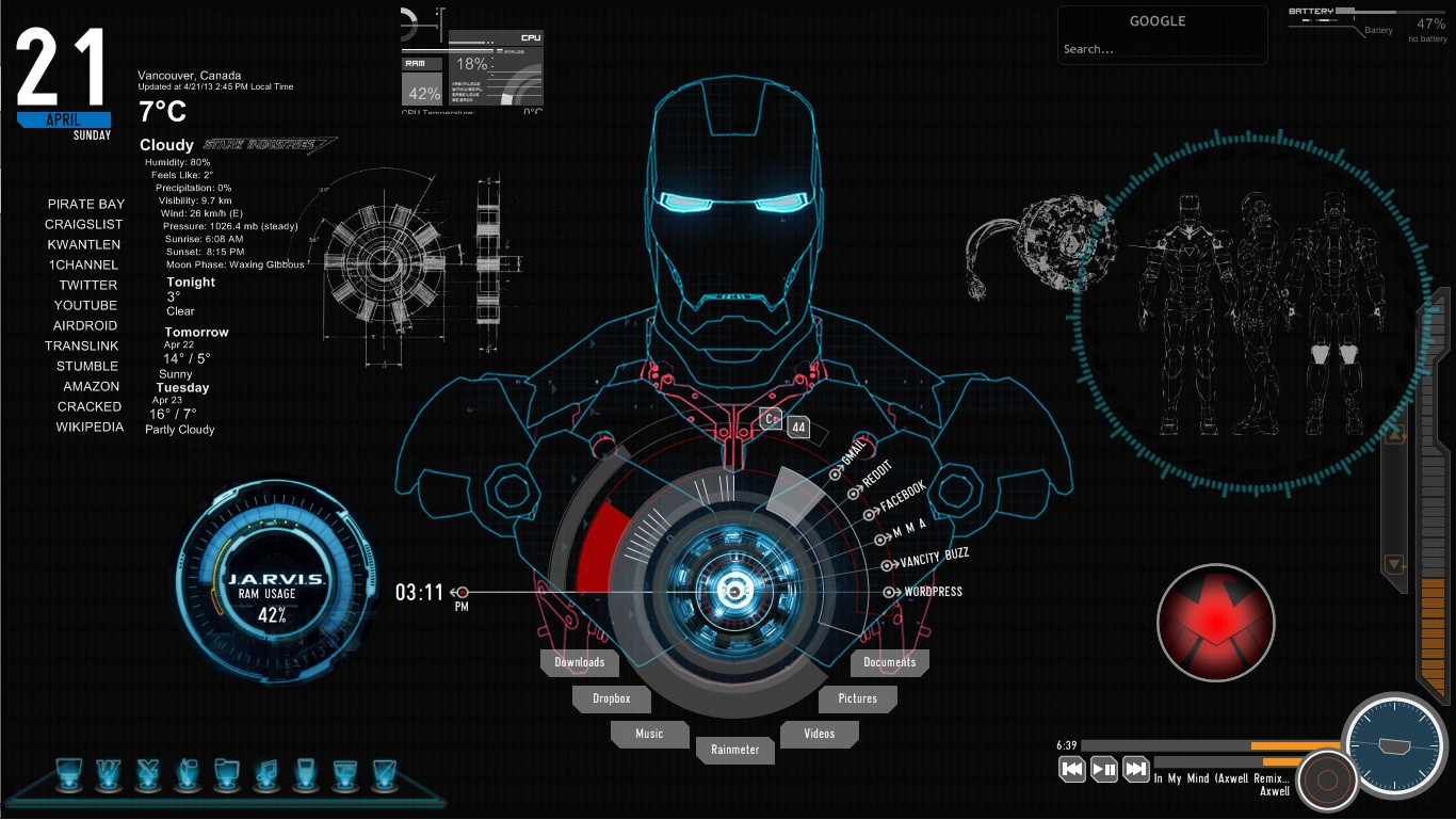 Iron Man Jarvis Live Wallpaper Into iron mans computer 1366x769